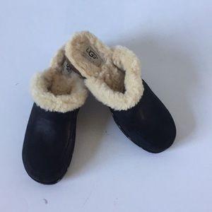 Ugg fur lined leather wood clogs black 8